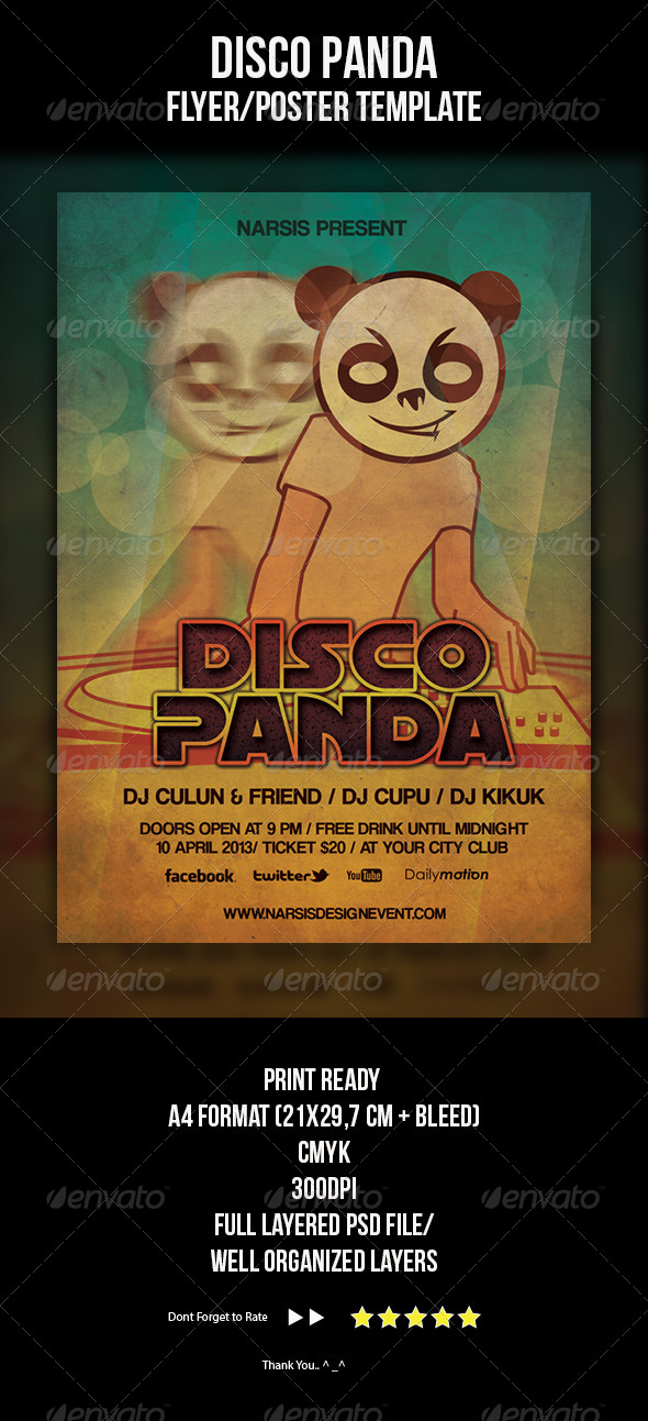 Disco Panda Flyer Template - Events Flyers