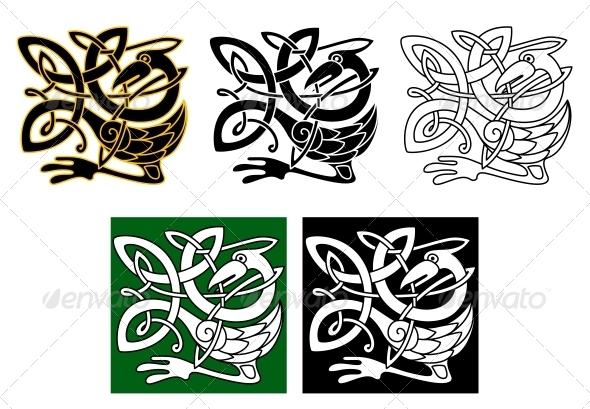 GraphicRiver Heron Bird in Celtic Ornament 4445119