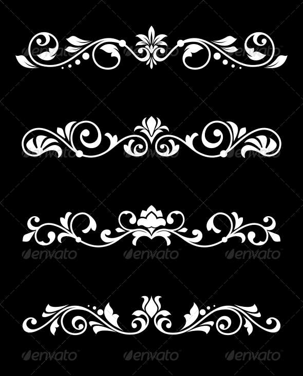 GraphicRiver Retro Borders and Dividers in Floral Style 4445136