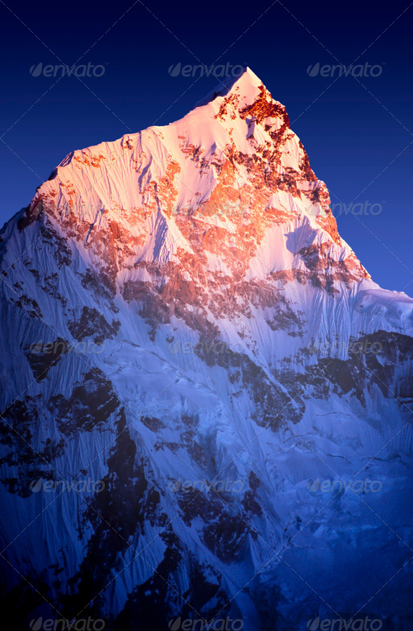 Lhotse Sunset - Stock Photo - Images