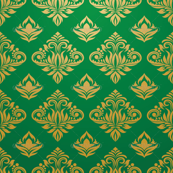 Gold and Green Pattern - Patterns Decorative