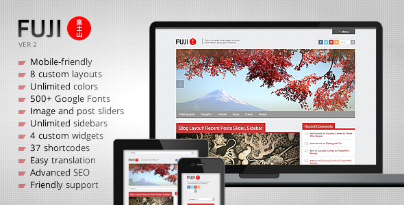 Fuji - Clean Responsive WordPress Theme - Blog / Magazine WordPress