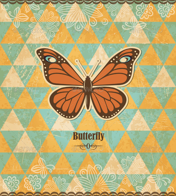 GraphicRiver Butterfly Vintage Mosaic Pattern 4449518