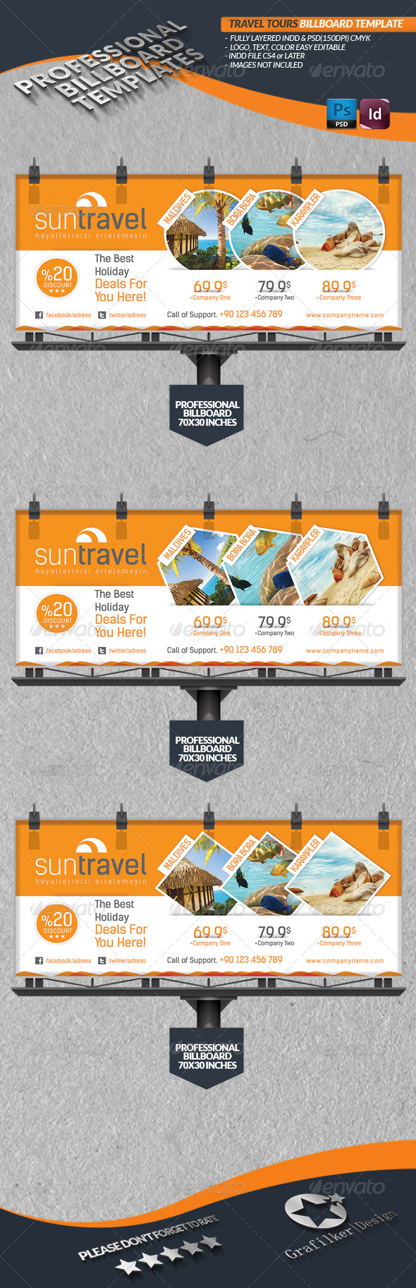 GraphicRiver Travel Tours Billboard Template 4450406
