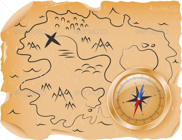GraphicRiver Compass with a Map 4451536