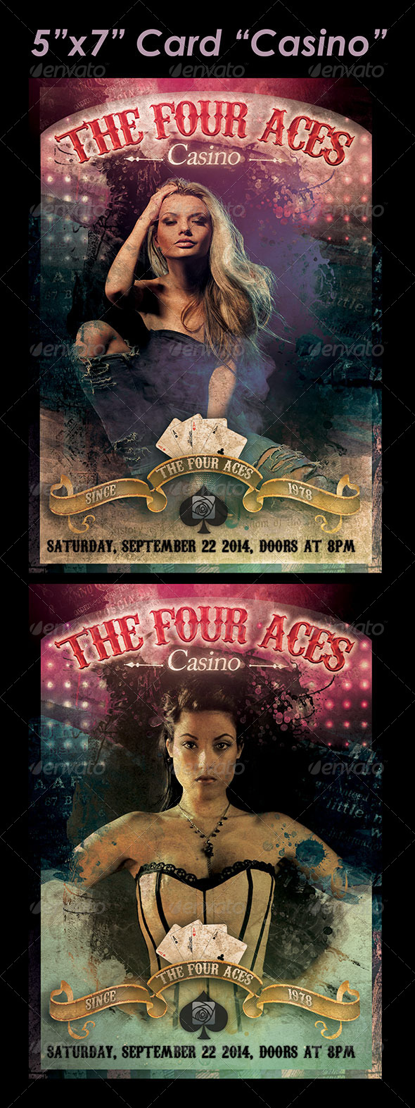 "5""x7"" Card ""Casino""  - Cards & Invites Print Templates"