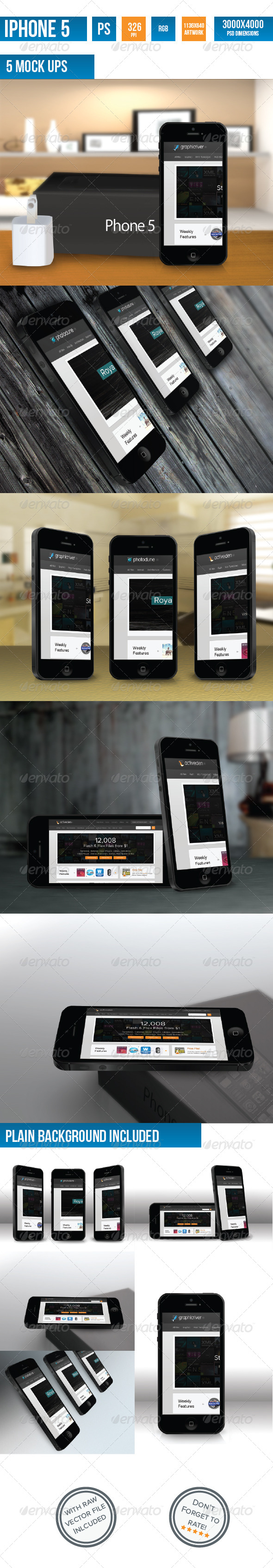 iPhone 5 Photorealistic Mock-UP - Mobile Displays