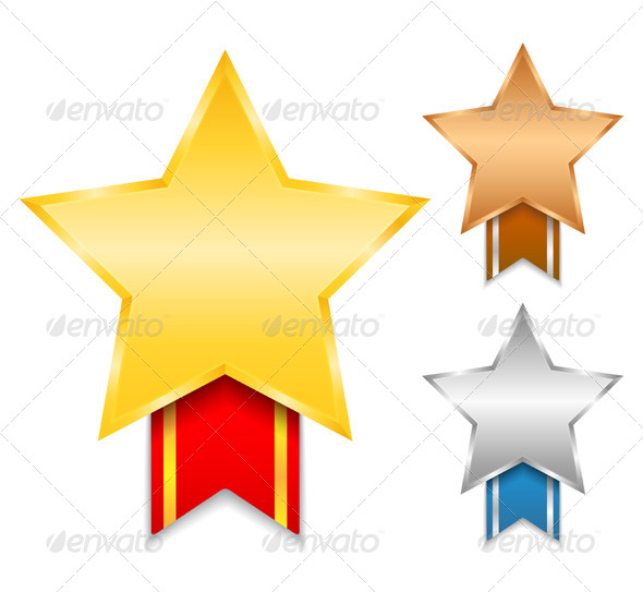 GraphicRiver Star Shaped Medals 4455903