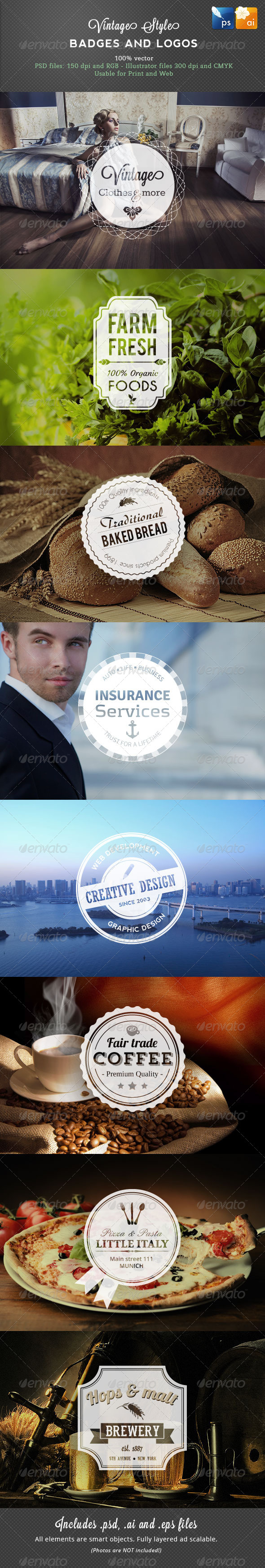 GraphicRiver 8 Vintage Style Badges 4456042