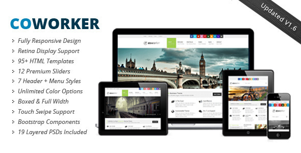 CoWorker - Responsive Template professional website template