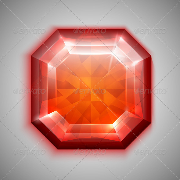 Asscher Ruby - Man-made objects Objects