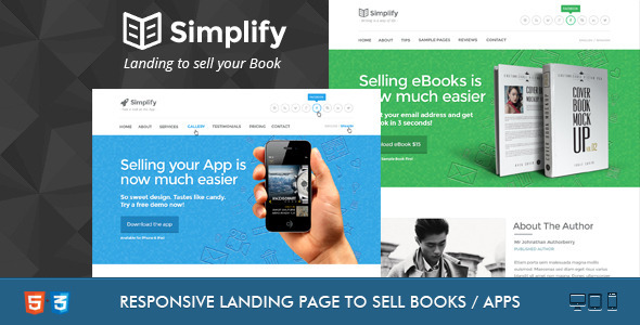 ThemeForest Simplify Sell your Book App Landing 4369836