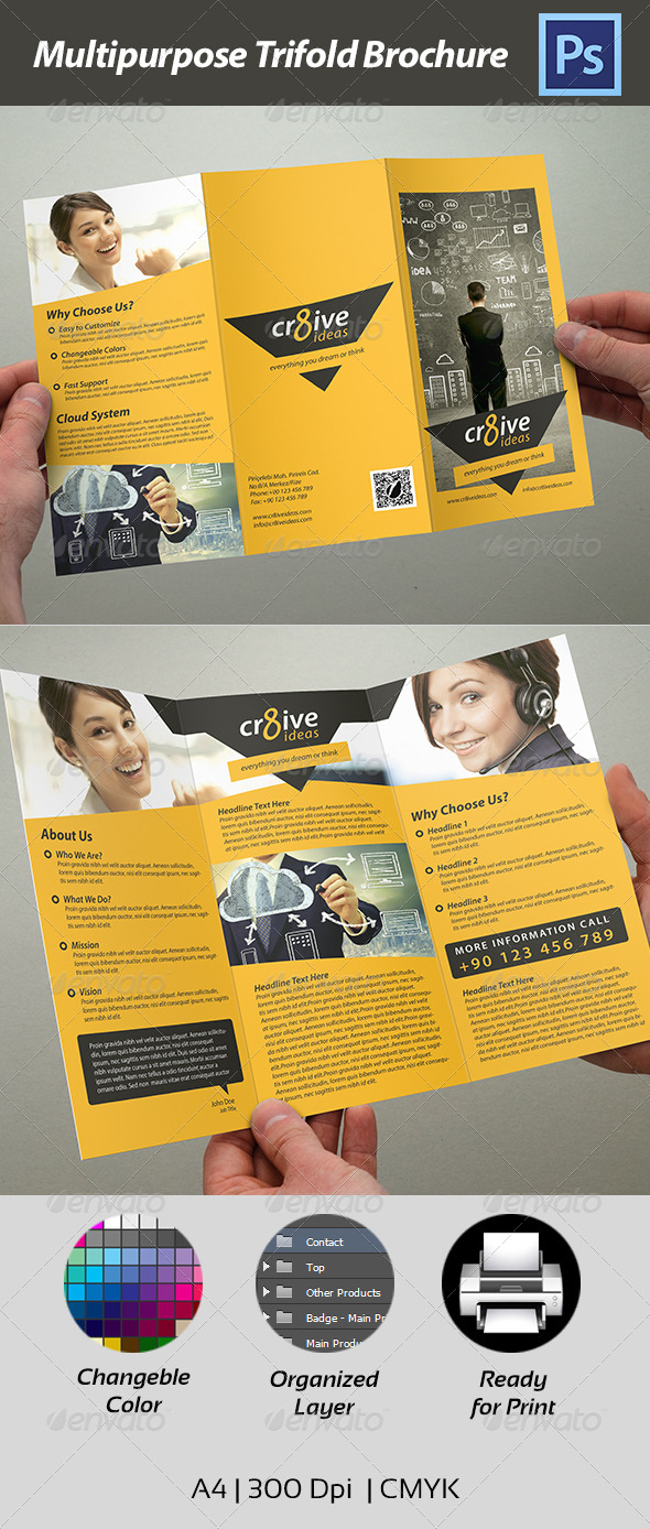 GraphicRiver Trifold Brochure Multipurpose 4458909