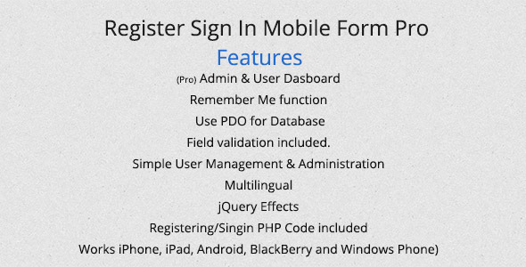 CodeCanyon Register Sign In Mobile Form Pro 4459054
