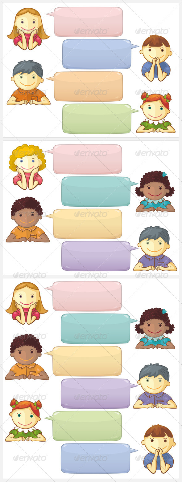 Chat Template with Cute Personages - People Characters