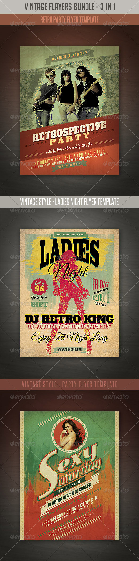 Vintage & Retro Flyers Bundle - Events Flyers