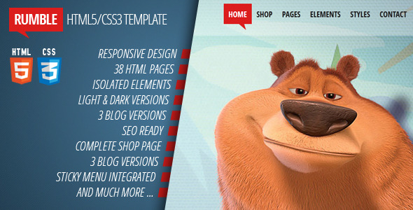 Rumble - Responsive Multi-purpose HTML5/CSS3 theme