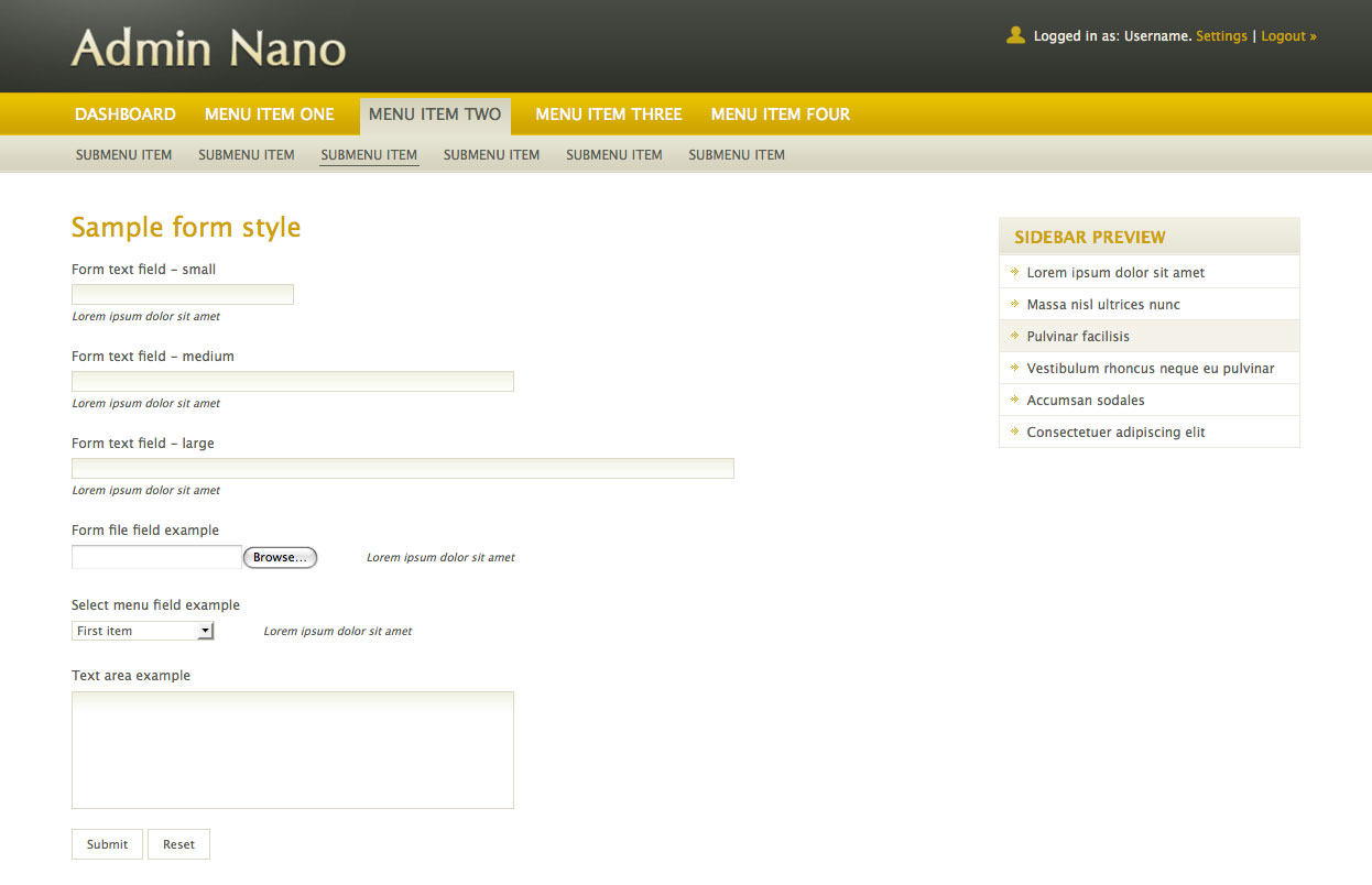 AdminNano - Showing sample form elements using Yellow color scheme.