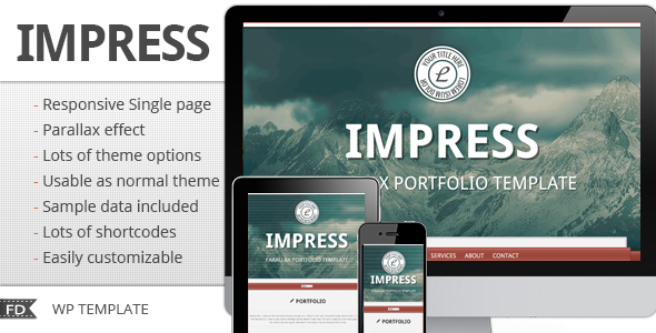 Impress - Responsive parallax single page theme - ThemeForest Item for Sale