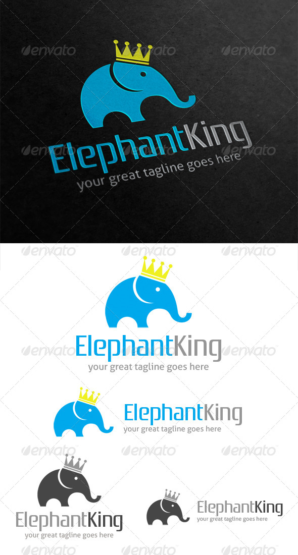 Elephant King Logo - Animals Logo Templates
