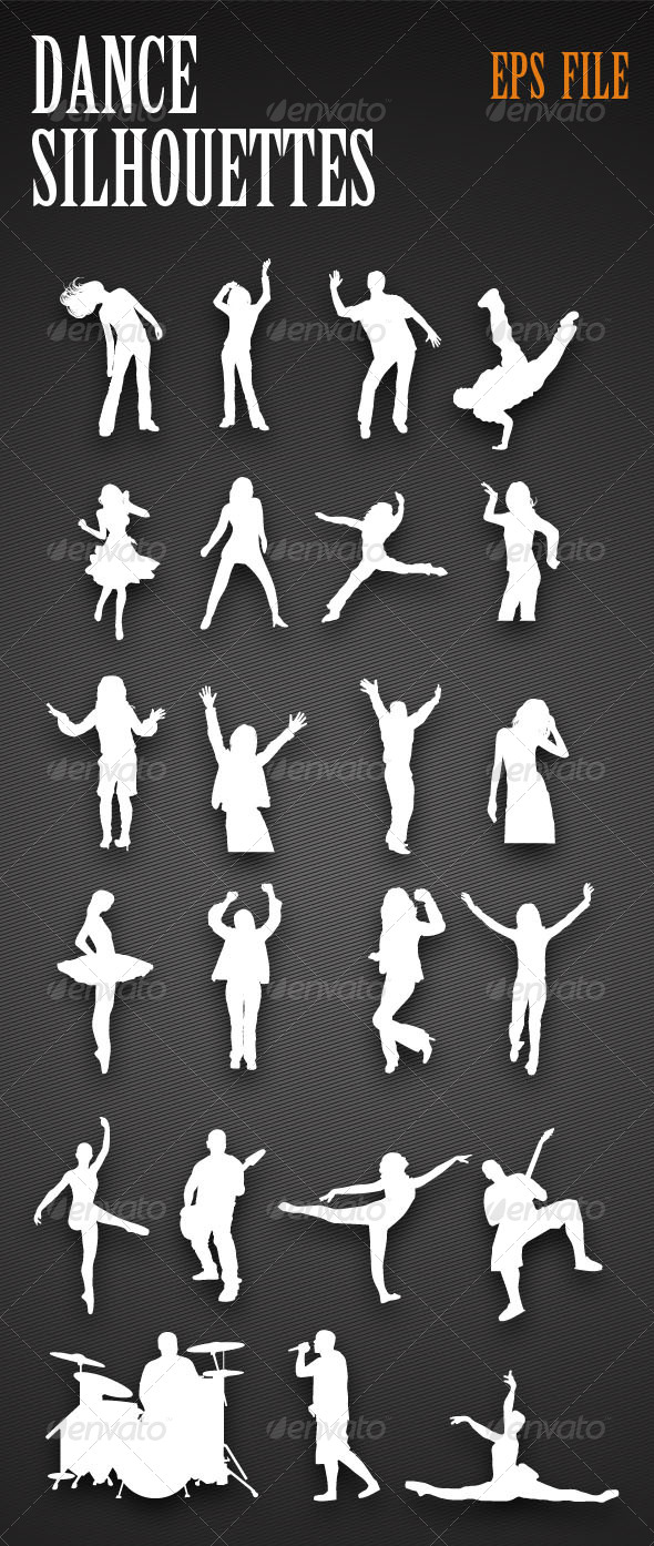 GraphicRiver Dancing People Silhouettes 4473366