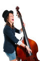 Woman in black hat play double bass - PhotoDune Item for Sale
