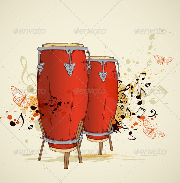 GraphicRiver Red Drums and Notes 4473952