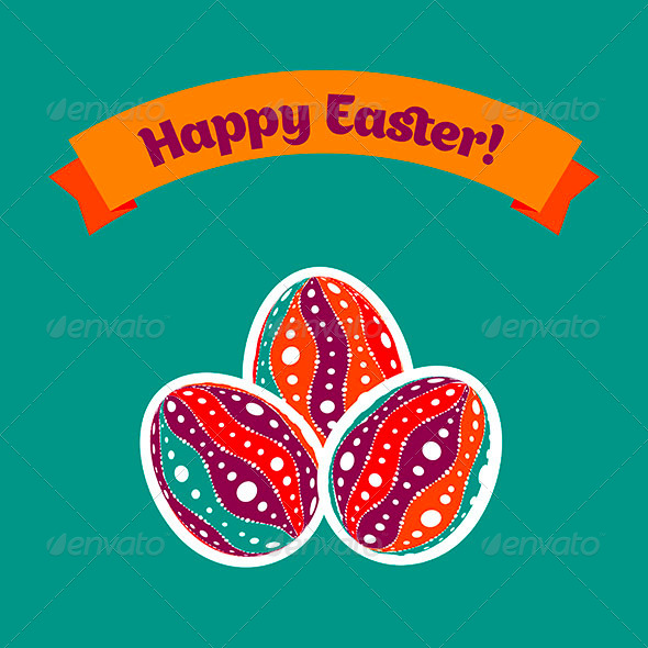 GraphicRiver Easter Card with Eggs and Banner 4474036