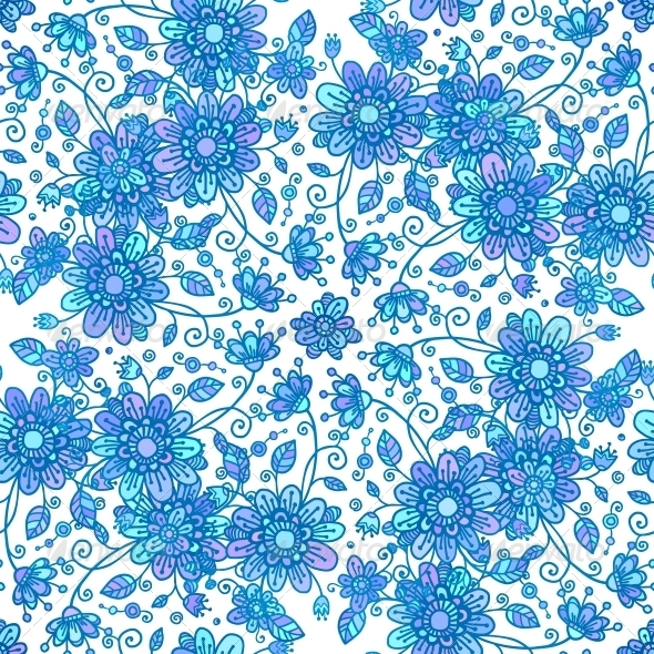GraphicRiver Blue Line Drawn Flowers Seamless Pattern 4476340