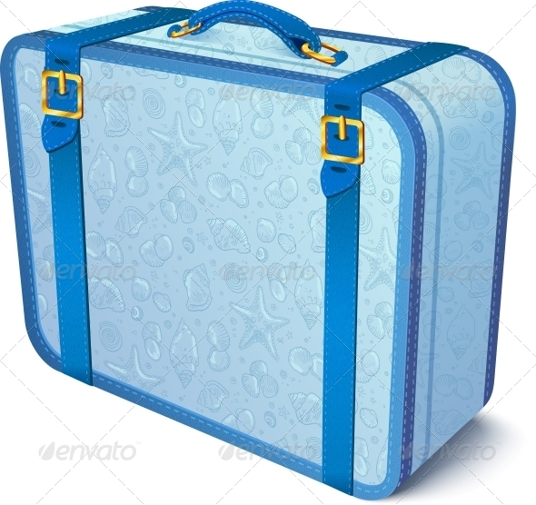 GraphicRiver Blue Ornate Traveler s Vector Suitcase 4476747