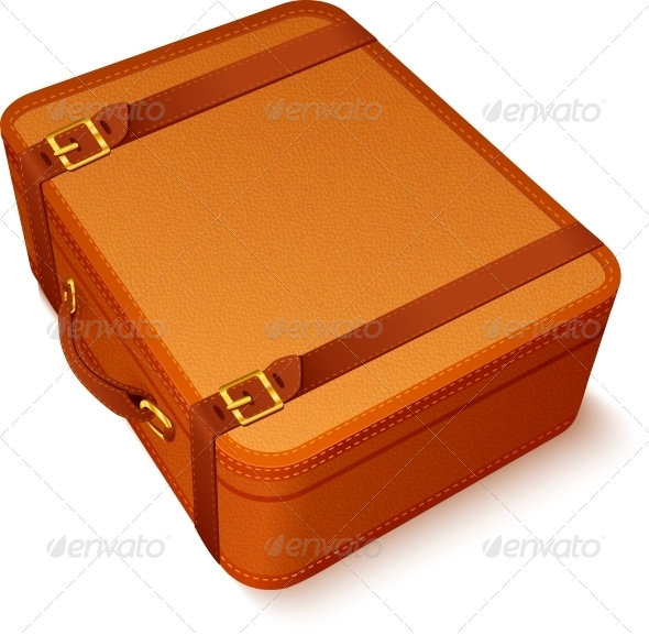 GraphicRiver Vector Traveller s Brown Leather Suitcase 4476748