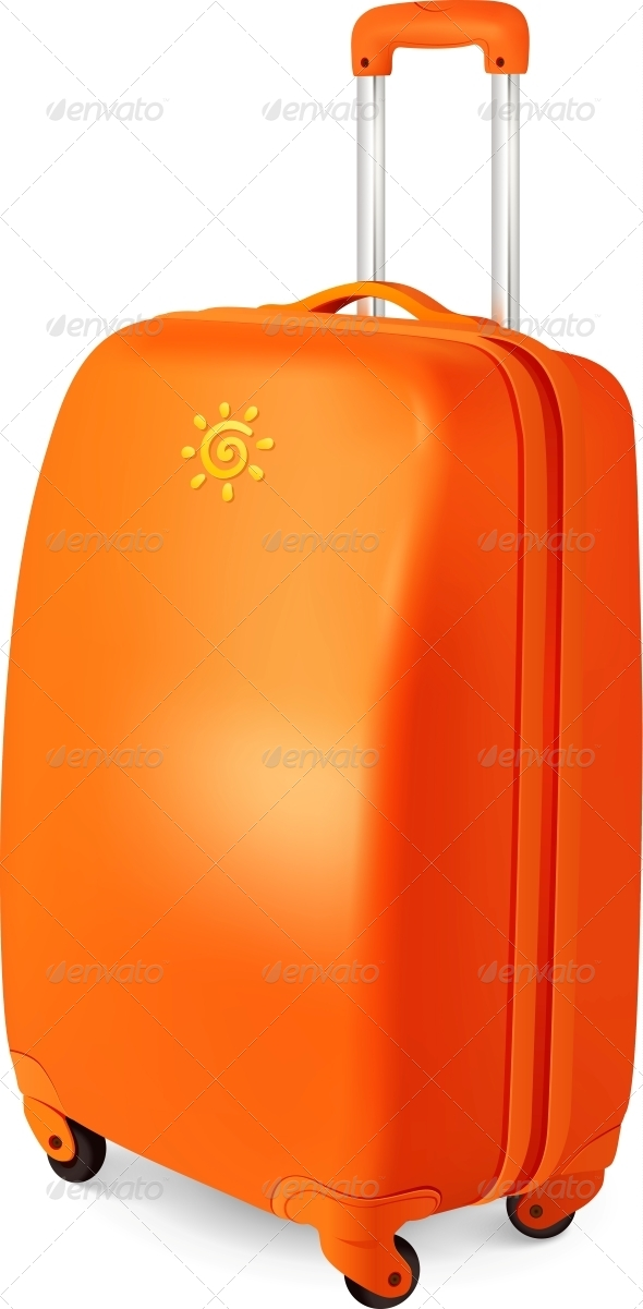 GraphicRiver Orange Vector Travelling Baggage Suitcase 4476757