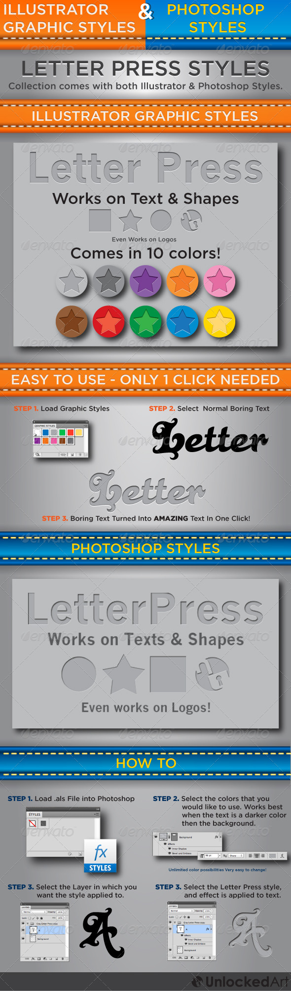 Letter Press Styles - Illustrator & Photoshop - Add-ons