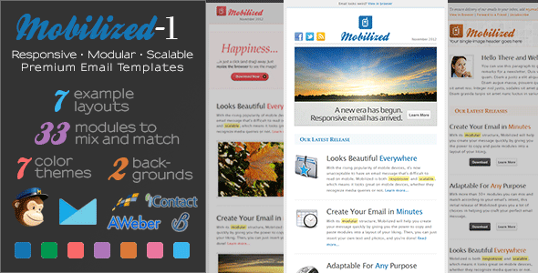 Mobilized-I - Responsive &amp; Modular Email Templates - Newsletters Email Templates