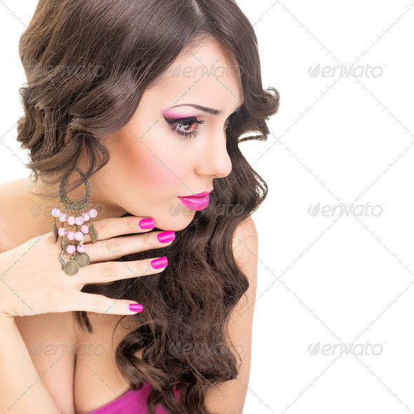 Sensual brunette in pink - Stock Photo - Images