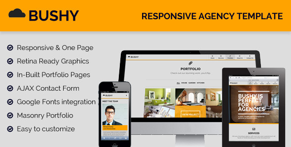 Bushy - Responsive, One Page Agency Template