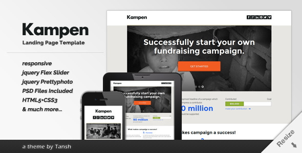 Kampen Responsive HTML Landing Page Template - Marketing Corporate