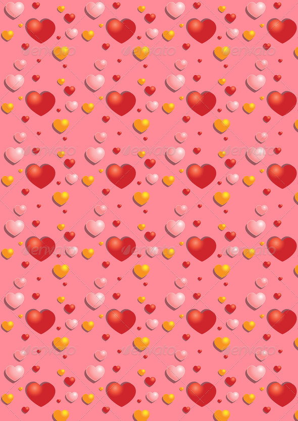 Gentle  Red Hearts on the Pink Background   - Stock Photo - Images