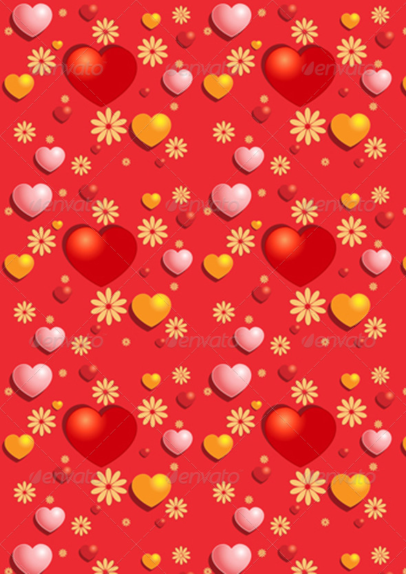 Gentle Red Hearts on the Red Background   - Stock Photo - Images