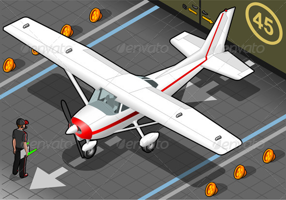 GraphicRiver Isometric White Plane in Front View 4481516