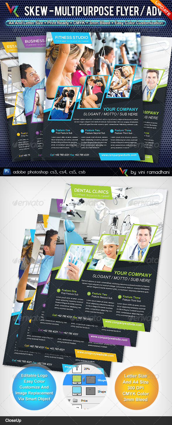 GraphicRiver Skew Multipurpose Flyer Or Adv 4482303