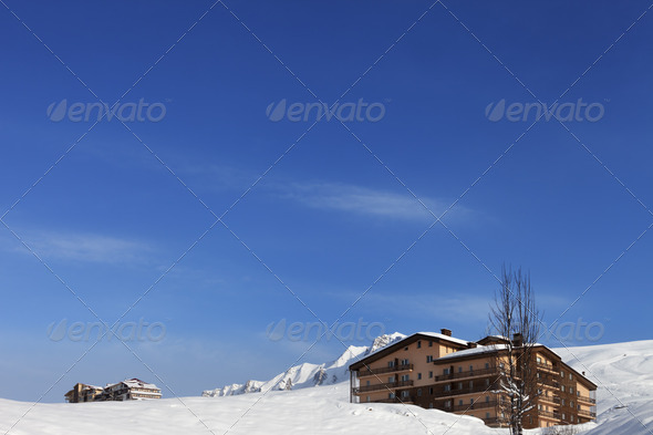 Hotel in winter mountains - Stock Photo - Images