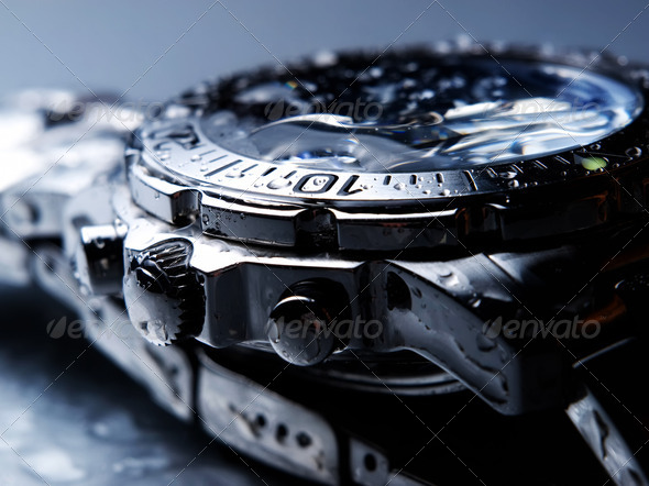 Wet wrist watch - Stock Photo - Images