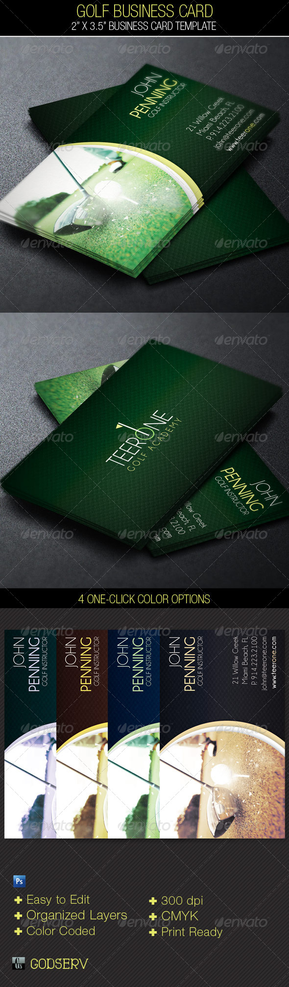 Golf Business Card Template - Industry Specific Business Cards
