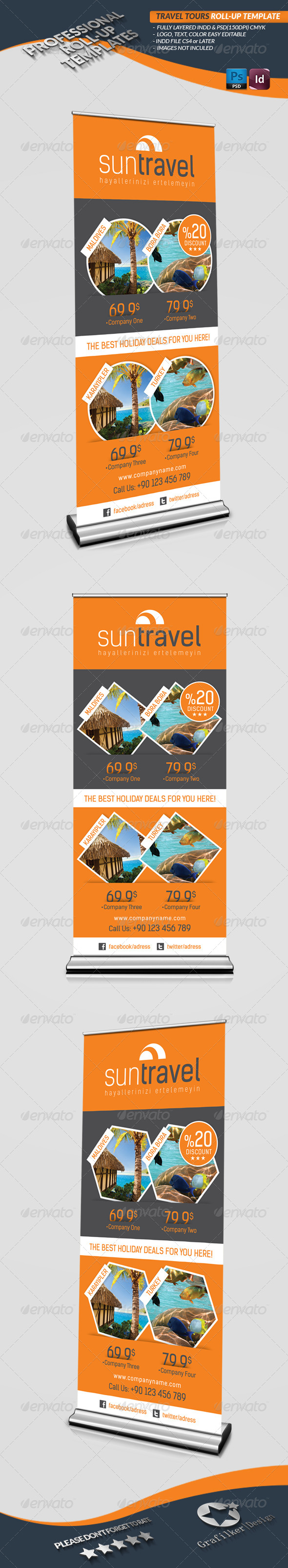 GraphicRiver Travel Tours Roll-Up Template 4486548