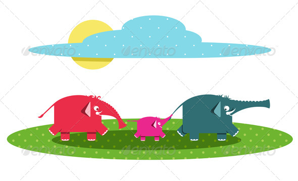 GraphicRiver Funny Graphic Elephants Family 4487422