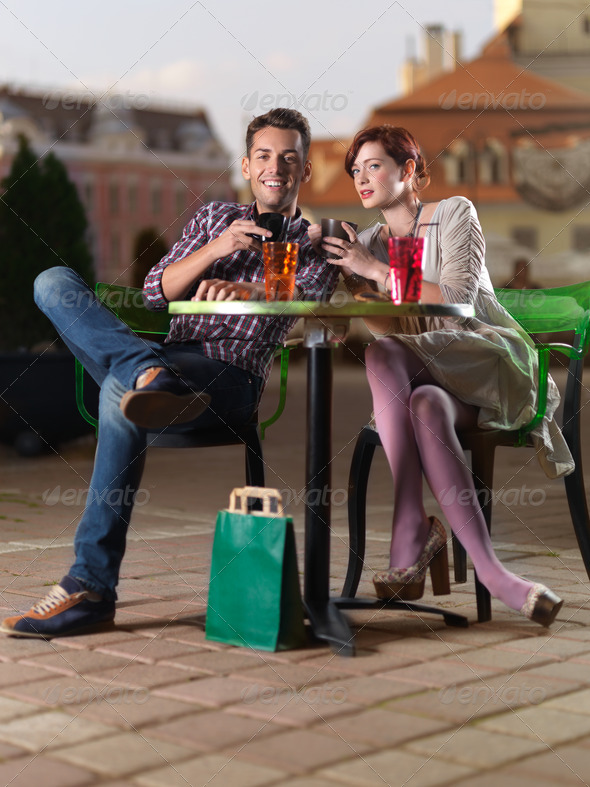 Couple shopping break - Stock Photo - Images