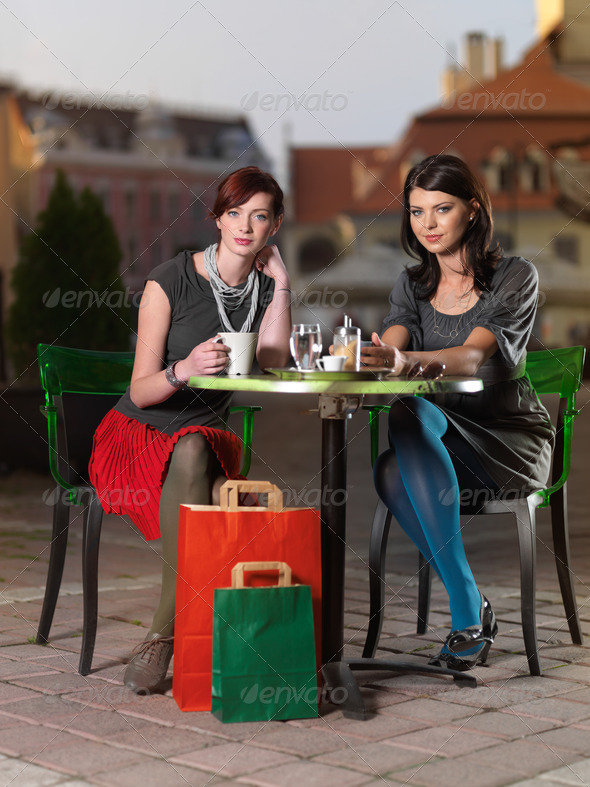 beautiful women at coffee - Stock Photo - Images
