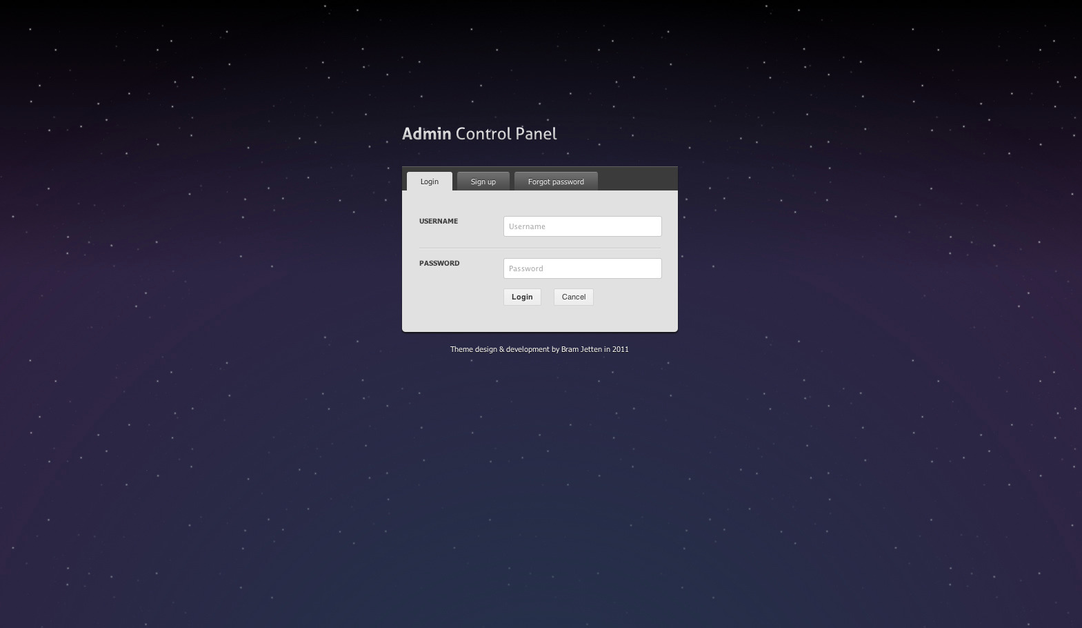 Admin Control Panel v2 - Login page