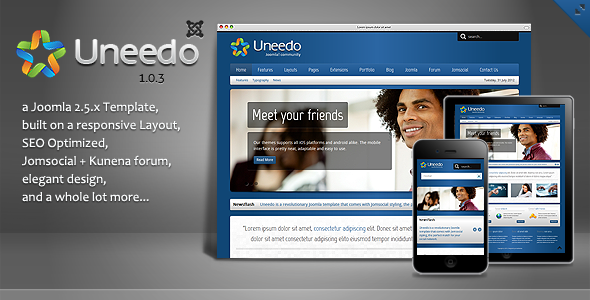 Uneedo - Responsive JomSocial Ready Joomla Template - Joomla CMS Themes